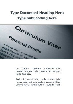Ordinary Curriculum Vitae Word Template Cover Page