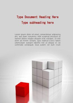 Red Part Of White Cube Word Template, Cover Page, 09830, Business Concepts — PoweredTemplate.com