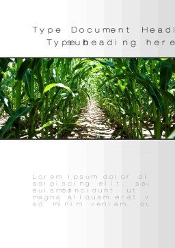 Corn Field Word Template, Cover Page, 09838, Agriculture and Animals — PoweredTemplate.com