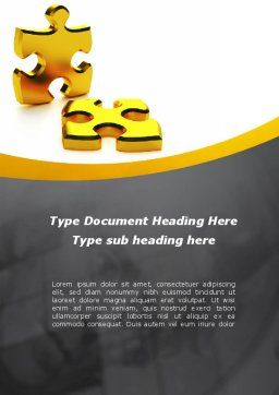 Golden Parts Of Puzzle Word Template Cover Page