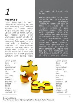 Golden Parts Of Puzzle Word Template, First Inner Page, 09841, Financial/Accounting — PoweredTemplate.com