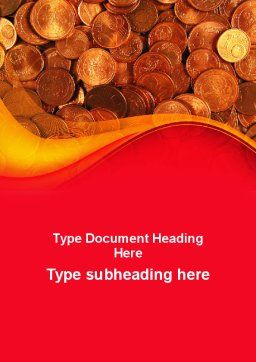 A Pile Of Gold Coins Word Template, Cover Page, 09847, Financial/Accounting — PoweredTemplate.com