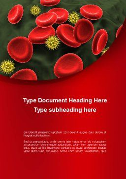 Virus In Blood Stream Word Template, Cover Page, 09857, Medical — PoweredTemplate.com