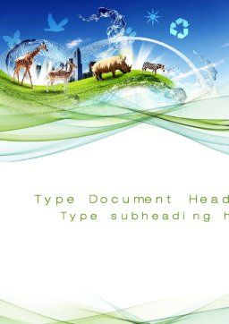 Ecological Balance Between Various Types Of Life Word Template, Cover Page, 09864, Agriculture and Animals — PoweredTemplate.com