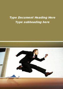 Run Businessman Run Word Template, Cover Page, 09878, Business — PoweredTemplate.com