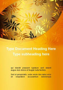 Golden Orange Vegetative Word Template, Cover Page, 09879, Nature & Environment — PoweredTemplate.com