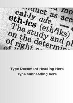 Ethics Word Template, Cover Page, 09895, Education & Training — PoweredTemplate.com