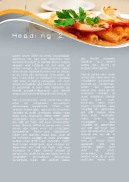 Pasta With Shrimps Word Template, Second Inner Page, 09898, Food & Beverage — PoweredTemplate.com