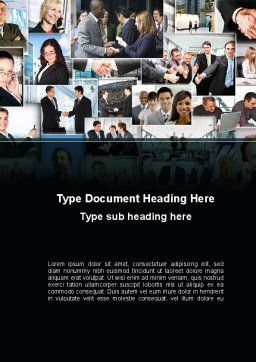 Business Theme Collage Word Template, Cover Page, 09901, People — PoweredTemplate.com