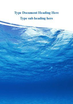 Picture Taken Under Water Word Template, Cover Page, 09905, Nature & Environment — PoweredTemplate.com