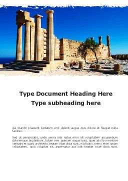Ruins Of Ancient Greek Temple Word Template, Cover Page, 09908, Holiday/Special Occasion — PoweredTemplate.com