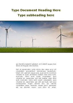 Wind Energy Windmills On Field Word Template Cover Page