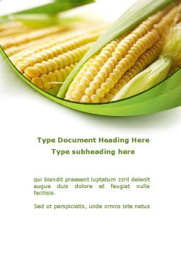 New Crop Of Maize Word Template Cover Page
