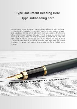 Personal Guaranty Agreement Word Template, Cover Page, 09921, Legal — PoweredTemplate.com
