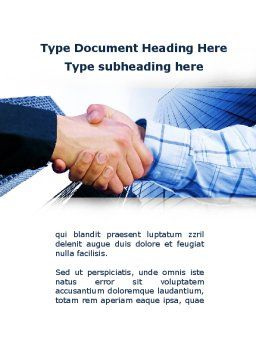 Handshake In Blue Colors Word Template, Cover Page, 09926, Business — PoweredTemplate.com