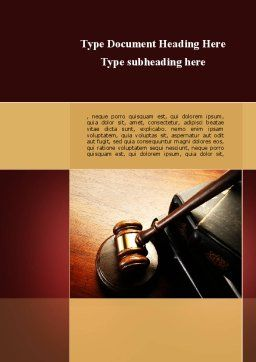 Mallet Of Judge Word Template, Cover Page, 09927, Legal — PoweredTemplate.com