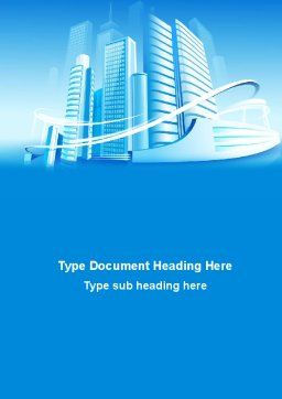 Blue City Word Template, Cover Page, 09929, Construction — PoweredTemplate.com