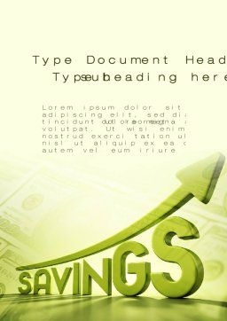 Rise Of Savings Word Template Cover Page