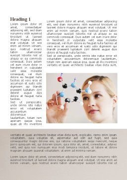 Girl With Molecular Model Word Template, First Inner Page, 09931, Technology, Science & Computers — PoweredTemplate.com