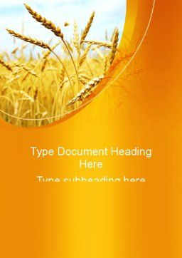 Golden Ear Of The Wheat Word Template, Cover Page, 09936, Agriculture and Animals — PoweredTemplate.com