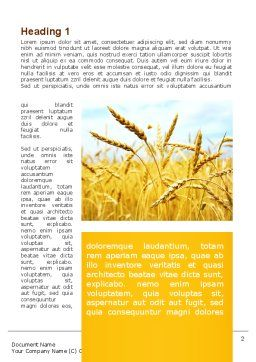 Golden Ear Of The Wheat Word Template, First Inner Page, 09936, Agriculture and Animals — PoweredTemplate.com