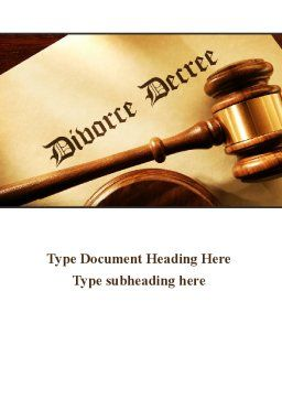 Divorce Decree With Gavel Word Template, Cover Page, 09945, Legal — PoweredTemplate.com