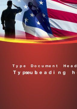 Saluting Flag Of The United States Word Template Cover Page