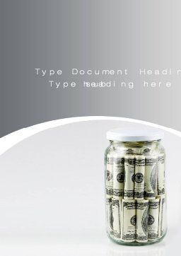 Glass Jar Full Of Dollars Word Template, Cover Page, 09951, Financial/Accounting — PoweredTemplate.com