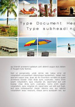 Beach Fun Word Template, Cover Page, 09954, Holiday/Special Occasion — PoweredTemplate.com