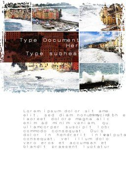 Italian Coastal Town Word Template, Cover Page, 09961, Construction — PoweredTemplate.com