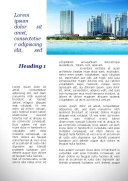 Modern Resort On A Seashore Word Template, First Inner Page, 09968, Construction — PoweredTemplate.com