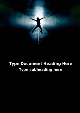 Jumping Silhouette In The Tunnel Word Template, Cover Page, 09977, People — PoweredTemplate.com