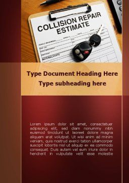 Collision Repair Estimate Word Template, Cover Page, 09983, Cars/Transportation — PoweredTemplate.com