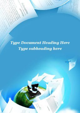 Flying Papers Word Template, Cover Page, 09989, Business — PoweredTemplate.com