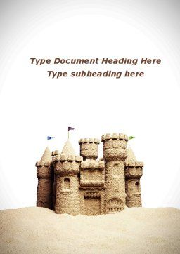 Sand Castle Word Template, Cover Page, 09998, Construction — PoweredTemplate.com