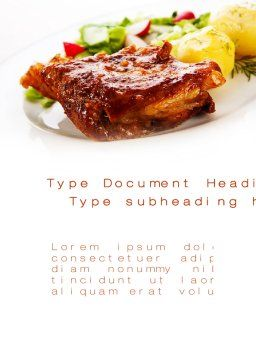 Pork Ribs with Potatoes Word Template, Cover Page, 10010, Food & Beverage — PoweredTemplate.com