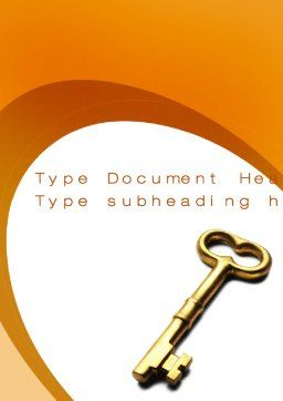 Golden Key Word Template, Cover Page, 10012, Consulting — PoweredTemplate.com