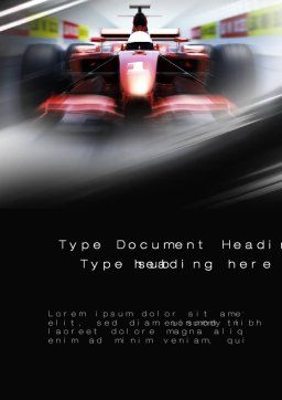 Formula One Bolide Racing Word Template, Cover Page, 10013, Sports — PoweredTemplate.com