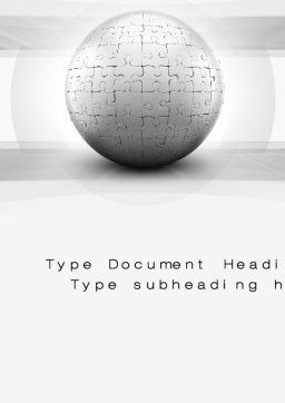 Puzzle In Sphere Word Template Cover Page