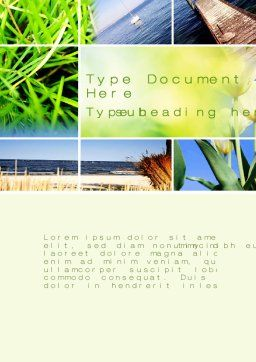 Summer Beach River Word Template, Cover Page, 10028, Nature & Environment — PoweredTemplate.com