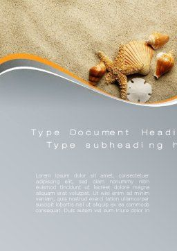 Shells And Starfish Word Template, Cover Page, 10030, Holiday/Special Occasion — PoweredTemplate.com
