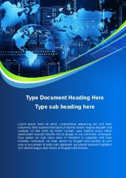 Wide World Computerization Word Template, Cover Page, 10057, Business — PoweredTemplate.com