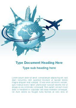 Round The World On A Plane Word Template, Cover Page, 10091, Cars/Transportation — PoweredTemplate.com
