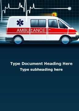 Racing Ambulance Word Template, Cover Page, 10175, Medical — PoweredTemplate.com