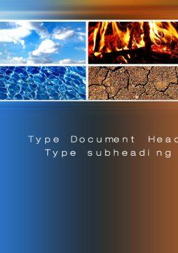 Four Elements Word Template, Cover Page, 10180, Nature & Environment — PoweredTemplate.com