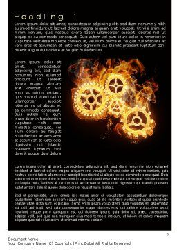 Burning Mechanism Word Template, First Inner Page, 10231, Utilities/Industrial — PoweredTemplate.com