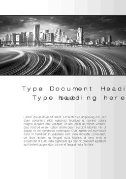 Monochrome City Word Template, Cover Page, 10253, Construction — PoweredTemplate.com