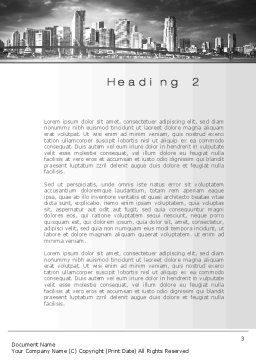 Monochrome City Word Template, Second Inner Page, 10253, Construction — PoweredTemplate.com