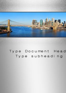 Brooklyn Bridge Word Template, Cover Page, 10267, Construction — PoweredTemplate.com