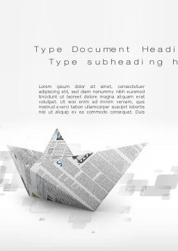 Paper Boat Word Template, Cover Page, 10268, Business Concepts — PoweredTemplate.com